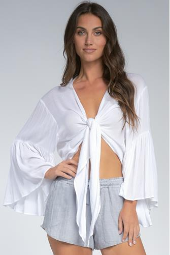 Long Sleeve Tie Front Top WHITE
