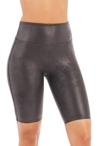 Faux Leather Bike Short BLACK