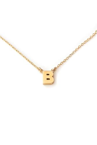 B Initial Necklace GOLD