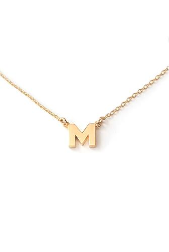 M Initial Necklace GOLD