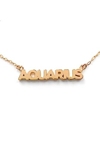 Aquarius Zodiac Script Necklace GOLD