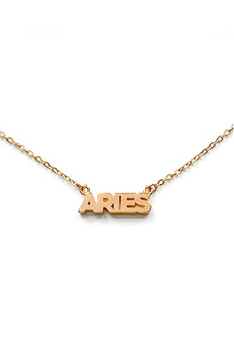 Aries Zodiac Script Necklace GOLD