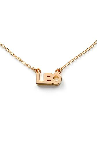 Leo Zodiac Script Necklace GOLD