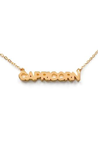 Capricorn Zodiac Script Necklace GOLD