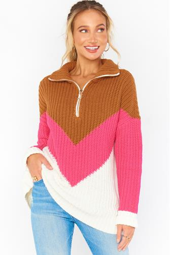 Weston Half Zip Pullover PINK-MULTI--