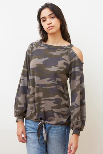 Camo Slit Shoulder Tie Front Top CAMO