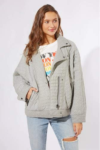Easy Day Quilted Moto Jacket GREY