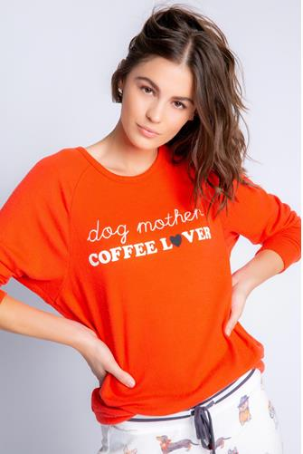 Dog Mother Coffee Lover Top RED