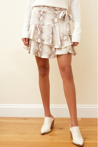Aster Python Ruffle Mini Skirt NATURAL