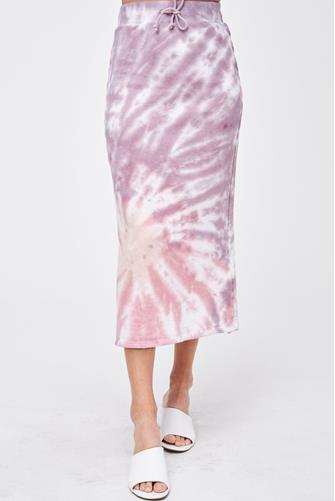 Tie Dye Midi Skirt PURPLE MULTI -