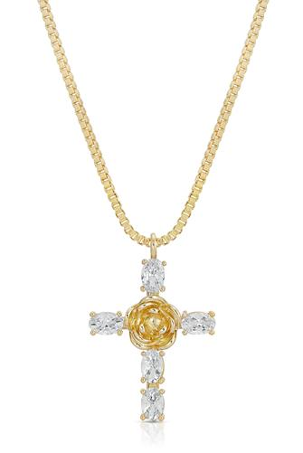 Rosa Cross Pendant Necklace GOLD
