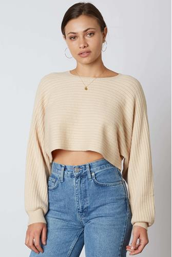 Textured Cropped Pullover OFF WHITE