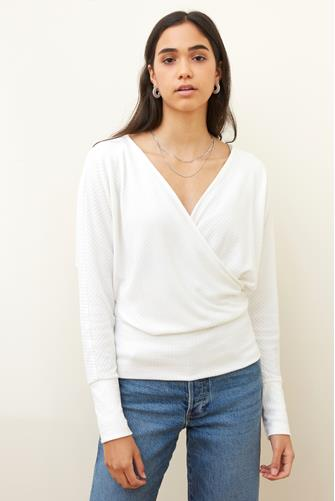 Ribbed Surplice Long Sleeve Knit Top OFF-WHITE