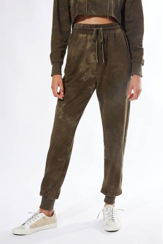 Faded Bleach Dye Tie Front Jogger OLIVE