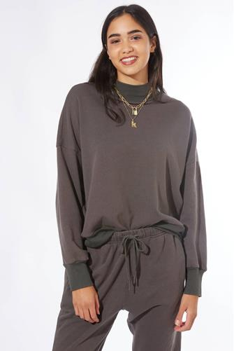 Mock Neck Sweatshirt CHARCOAL