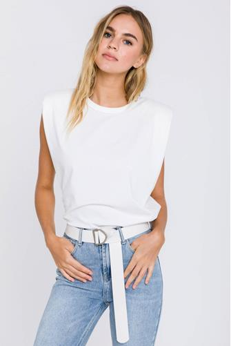 Padded Shoulder Short Sleeve Tee WHITE