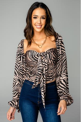 Yasmine Claw Tie Front Top BLACK-MULTI--