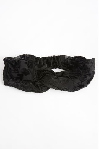 Velvet Burnout Twist Headband BLACK