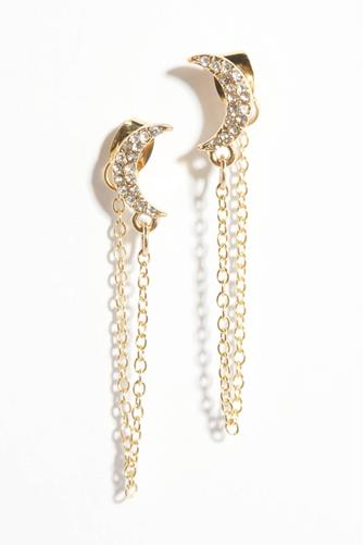 Cubic Zirconia Moon & Star Linear Chain Drop Earrings GOLD