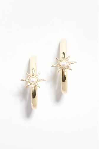 Thick Gold Starburst Charm Hoop Earrings GOLD