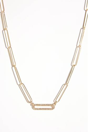 Cubic Zirconia Oval Chain Link Necklace GOLD