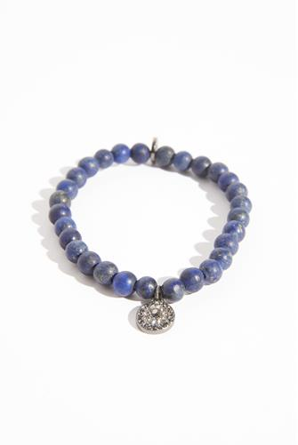Natural Lapis Stretch Charm Bracelet BLUE