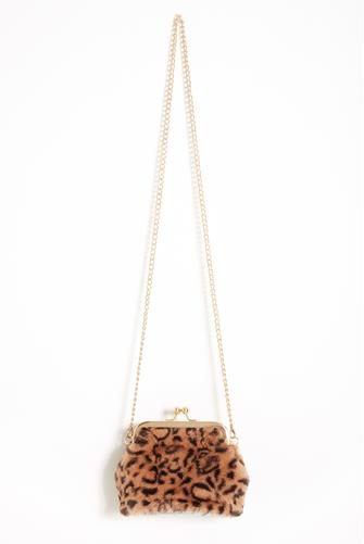 Kiss Lock Leopard Crossbody Bag BROWN-MULTI--