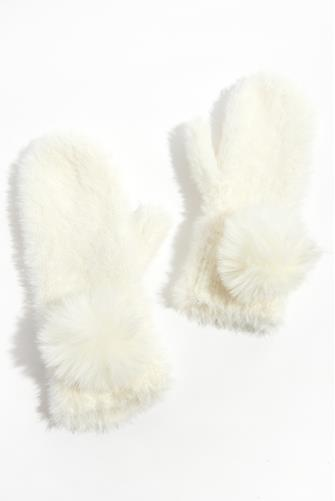 Fluffy Moose Pom Mittens WHITE