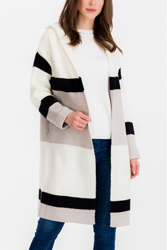 Hooded Colorblock Sweater Coat BLACK-MULTI--