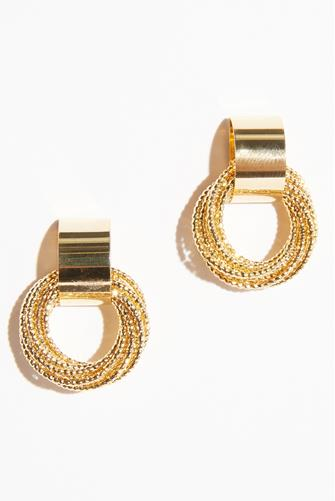 Gold Multi Round Shimmer Drop Earrings GOLD