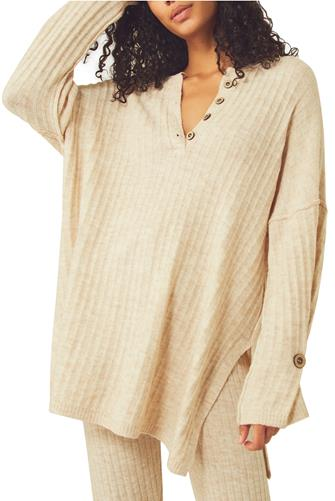 Around The Clock Thermal Henley OATMEAL