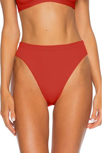 Rust Danielle Ribbed High Waist Bikini Bottom RUST