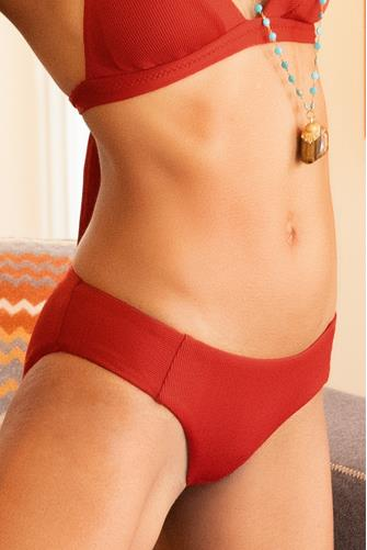 Rust Fine Line Ribbed Tab Side Bikini Bottom RUST