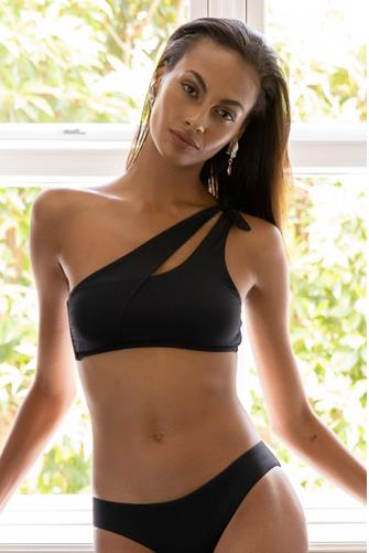 Black Color Code Sadie Asymmetrical Bikini Top BLACK