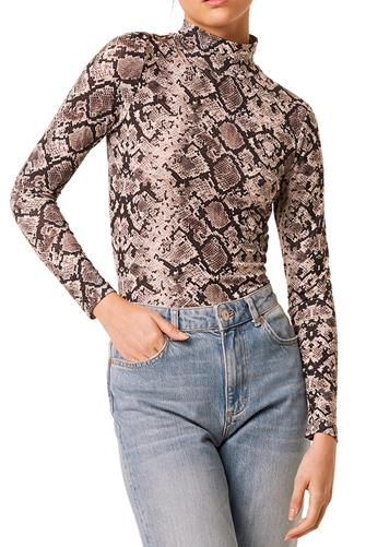 Dark Neutral Snake Mock Neck Top MULTI
