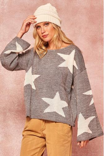 Boatneck Star Pullover GREY