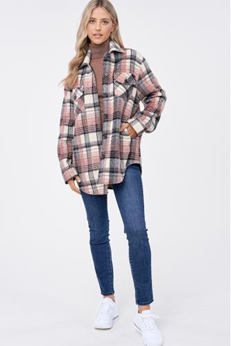 Brushed Neutral Plaid Shirt Jacket MULTI