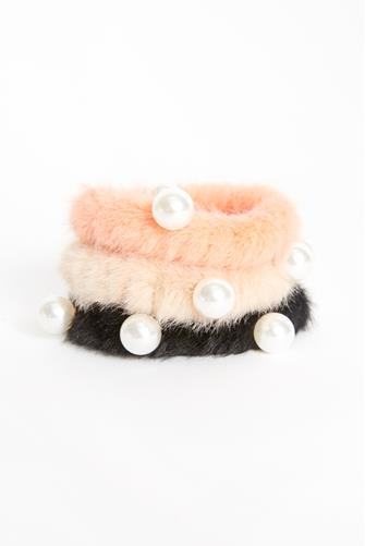 Faux Fur Ponytail Holder Three Pack MULTI