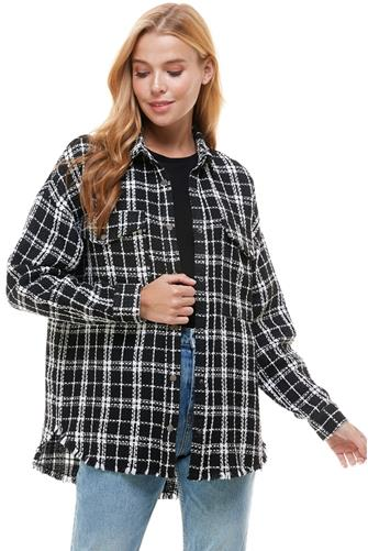 Plaid Tweed Shirt Jacket BLACK