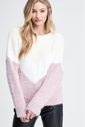 Chevron Sweater LITE-PINK