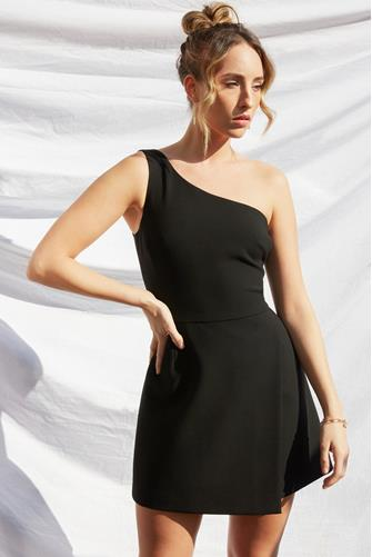 Black Whisper One Shoulder Dress BLACK