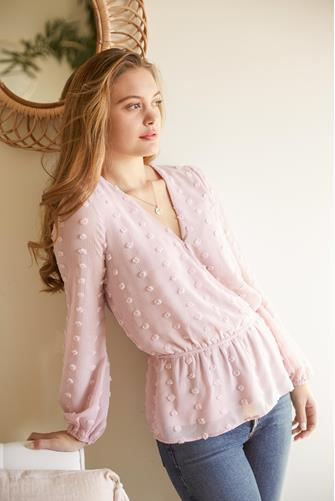 Swiss Dot Puff Sleeve Blouse LITE PINK