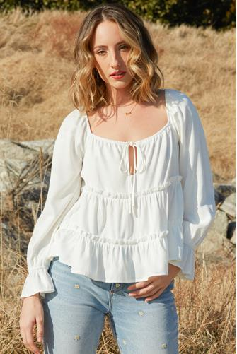 Tiered Long Sleeve Top IVORY