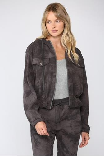 Charcoal Tie Dye Hooded Jacket CHARCOAL