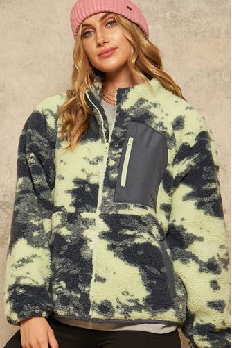 Tie Dye Fleece Zip Up Jacket MULTI