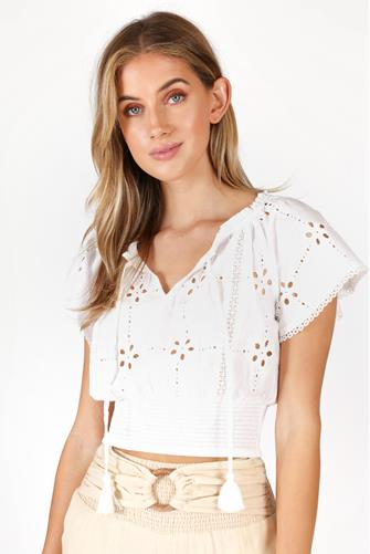 Eyelet Smocked Waist Top WHITE