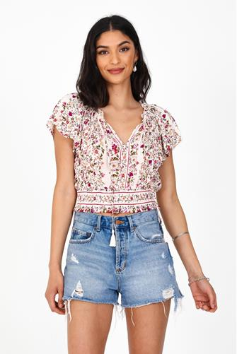 Smocked Bottom Short Sleeve Top PINK-MULTI--