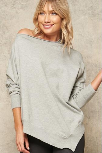 Asymmetrical Boatneck Pullover GREY
