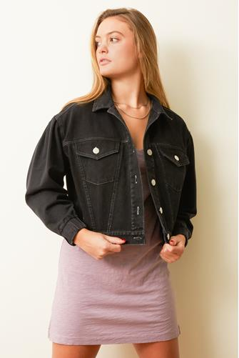 Puff Sleeve French Terry Denim Jacket BLACK