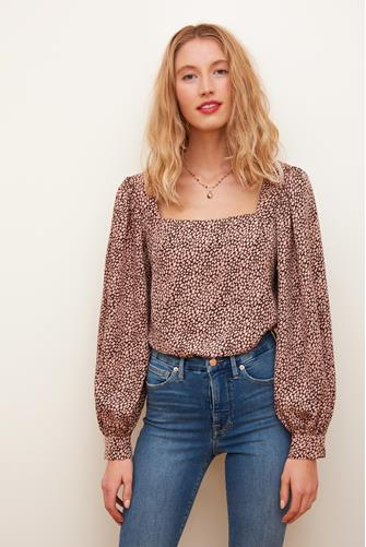 Printed Square Neck Blouse PINK-MULTI--